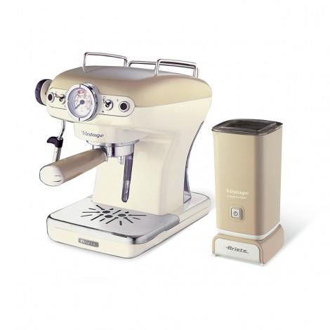 Набор Ariete Vintage Рожковая кофеварка 1389/03 + Капучинатор 2878/03 Бежевый
